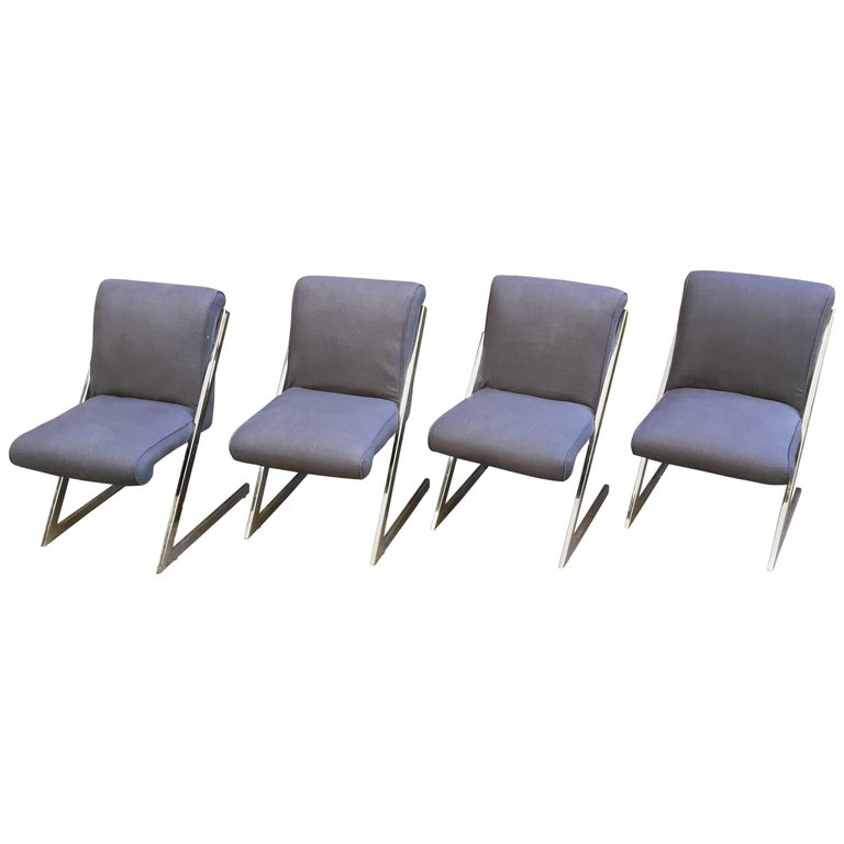Set of Four 1970s Chrome Cantilever Chairs