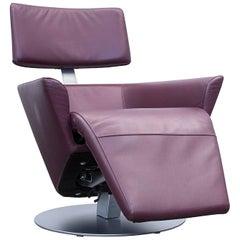 WK Wohnen Designer Armchair Leather Aubergine Electric Function Couch Modern