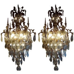 Unique Set of Two Large French Chandeliers with Huge Crystals, identical