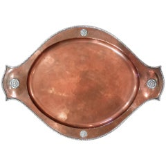 Arts & Crafts Movement Copper and Silver Tray by A E Jones