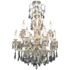 Large French Maria Therese Bronze Chandelier with Crystals, 12-Light