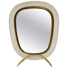 Brass Vintage Table Mirror by Vereinigte Werkstätten München circa 1958, Germany