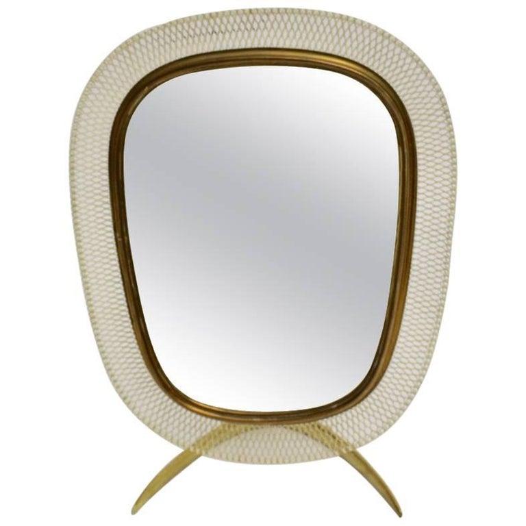 Brass Table Mirror by Vereinigte Werkstätten München, circa 1958, Germany