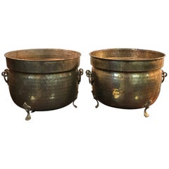 1960s Large Italian Brass Cachepot Planters with Clawfeet, Pair
