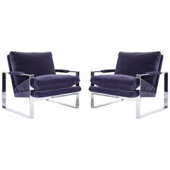Chrome Flat Bar Lounge Chairs by Milo Baughman