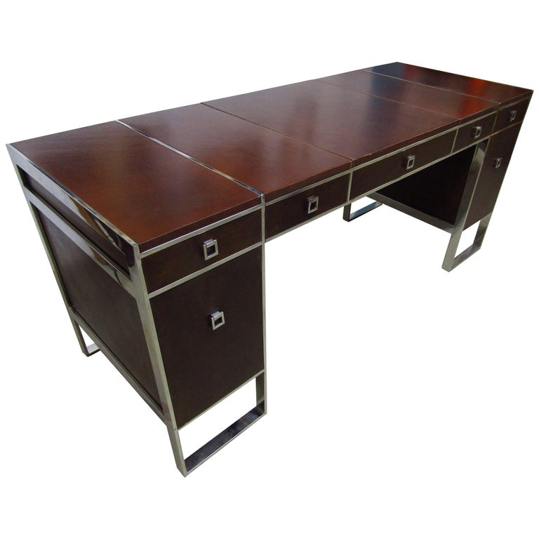 Mid-Century Leather Coated Desk by Guy Lefevre for Maison Jansen, France, 1960s For Sale