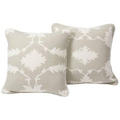 "Schumacher Mary McDonald Garden of Persia Floral Dove Two-Sided 18"" Pillows,Pair"