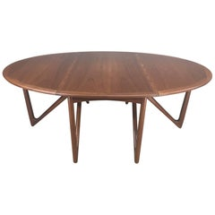 "Kurt Ostervig ""Eva"" Teak Elliptical Gate-Leg Drop-Leaf Dining Table"