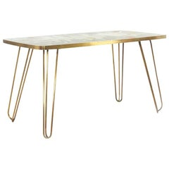 Italian Brass, White, Grey, Blue and Yellow Glass Mosaic Side Table, 1950s