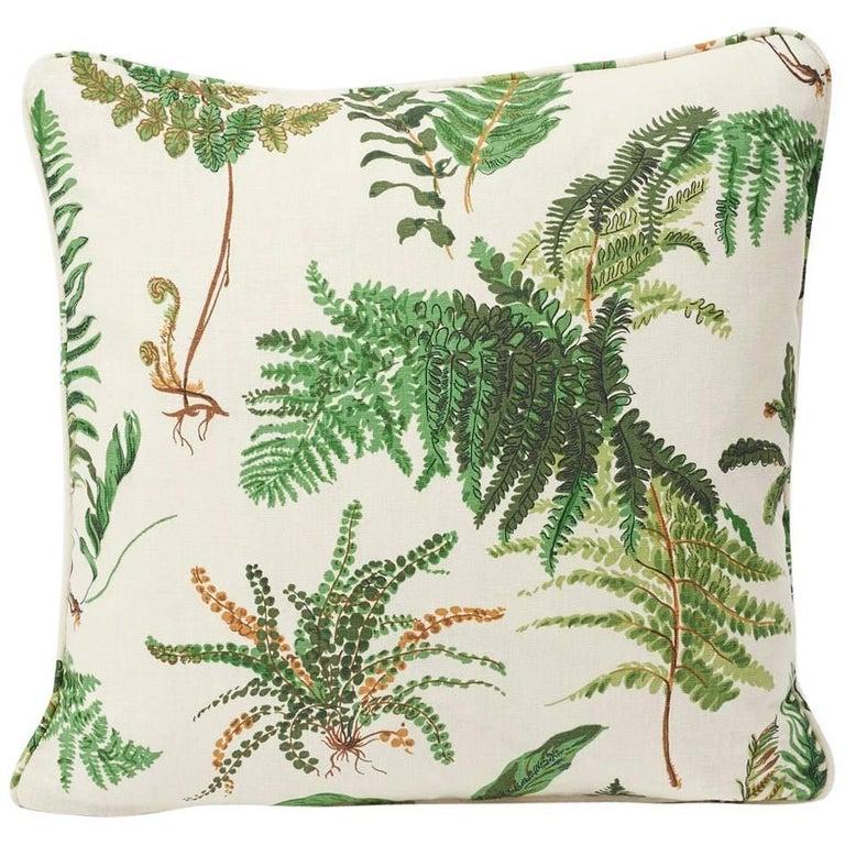 "Schumacher Les Fougeres Floral Document White Green 18"" Linen Pillow For Sale"