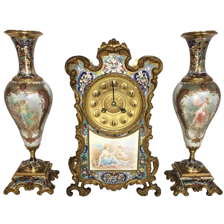 French, Louis XVI Style Enamel Clock Set, 19th Century