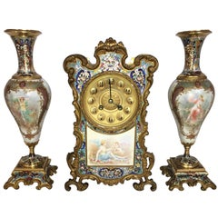 French, Louis XVI Style Enamel Clock Set, 19th Century