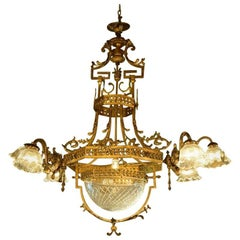 Empire Style Chandelier with Seven Lights and Bowl in Victorian Cut-Glass