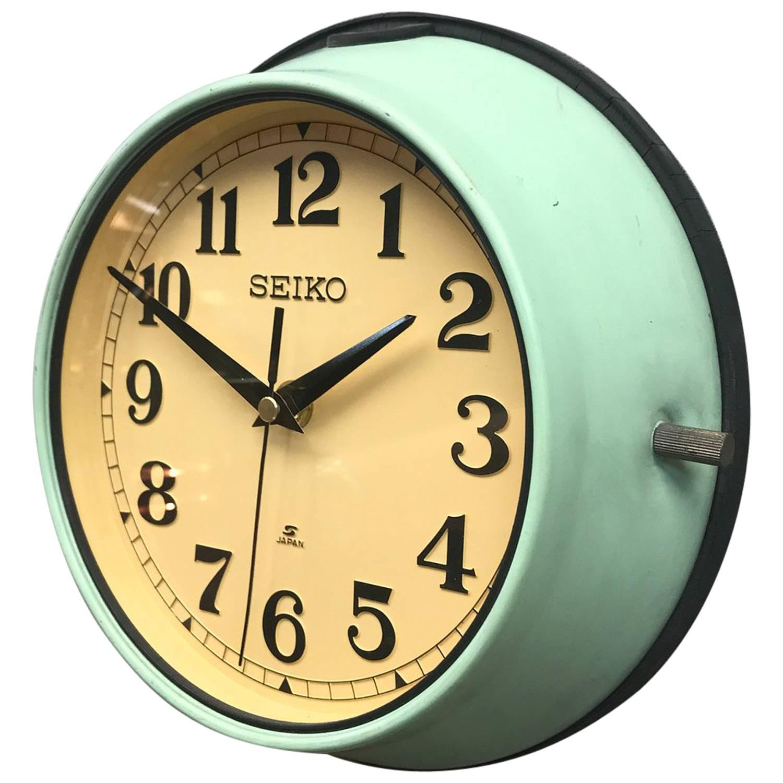 1970s green seiko retro vintage industrial antique steel quartz wall clock