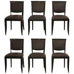 Six Black French Art Deco Dining Room Chairs Re-Lacquered and Re-Upholstered