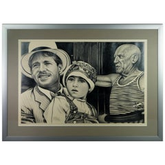 20th Century Eric Scott Graphite Drawing Paper Moon Pablo Picasso Photorealism