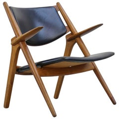 Hans Wegner Danish Lounge Chair CH28 Sawback, 1950s Scandinavian