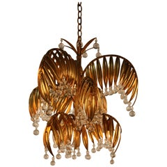 Handcrafted Gold Leaf on Metal Palm Tree Crystal Chandelier
