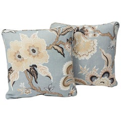 "Schumacher Celerie Kemble Hothouse Flowers Blue Two-Sided 18"" Pillows, Pair"