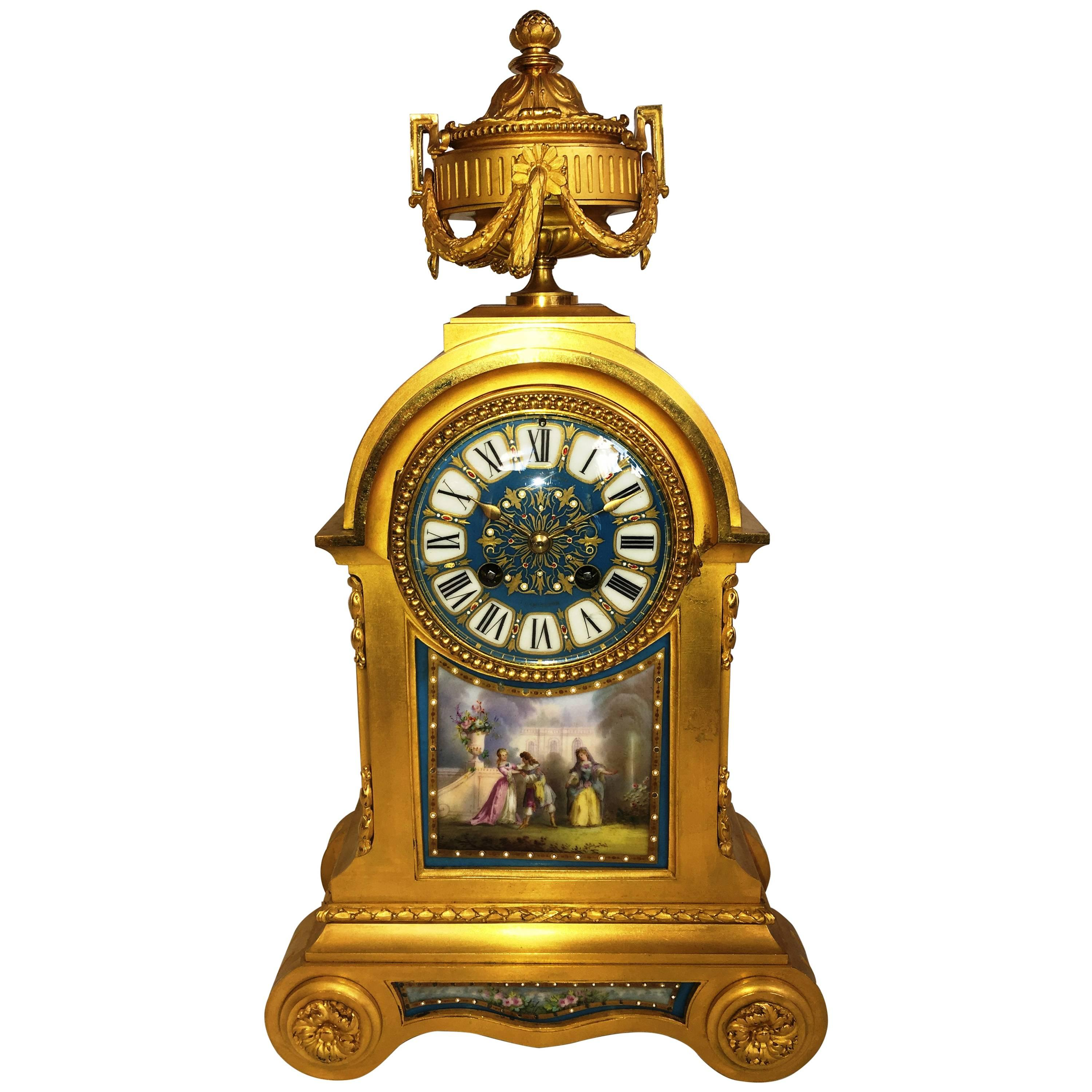French Louis XVI Style Mantel Clock, 19th Century