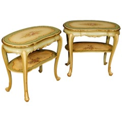 20th Century Pair of Italian Lacquered Bedside Tables