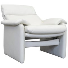 Erpo Lugano Designer Armchair Leather Crème White Two-Seat Couch Function Modern