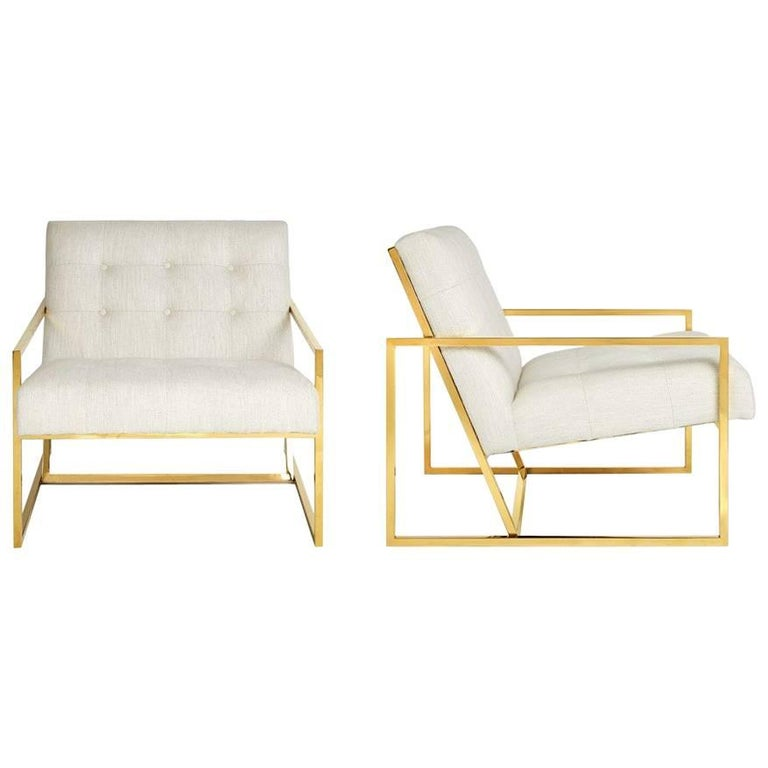 Goldfinger Linen and Brass Lounge Chair