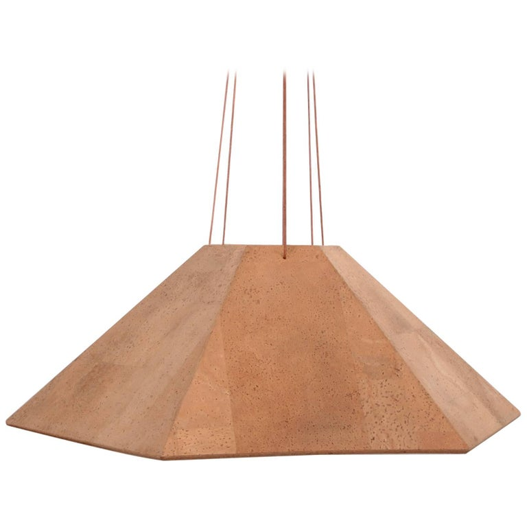 Rare Huge Wilhelm Zannoth Zanotl Cork Pendant Lamp for Ingo Maurer Germany 1970s For Sale