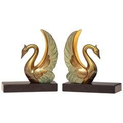 Art Deco Swan Bookends