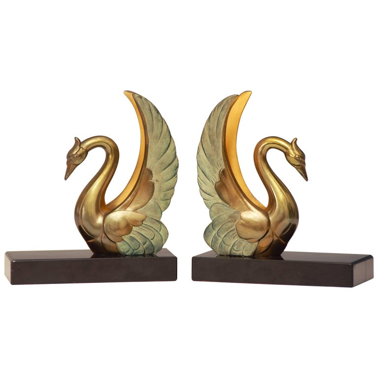 Art Deco Swan Bookends