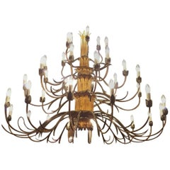 Large Iron Doré Chandelier, Early 20th Century