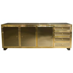 Brass and Steel Sideboard by Michel Pigneres, France, 1970s