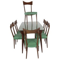 Table with Six Chairs in the Manner of Ico Parisi, 1950s, Italy