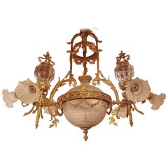 Large Empire Style Bronze-Gilt Chandelier, Globe of Victorian Glass, Nine-Light