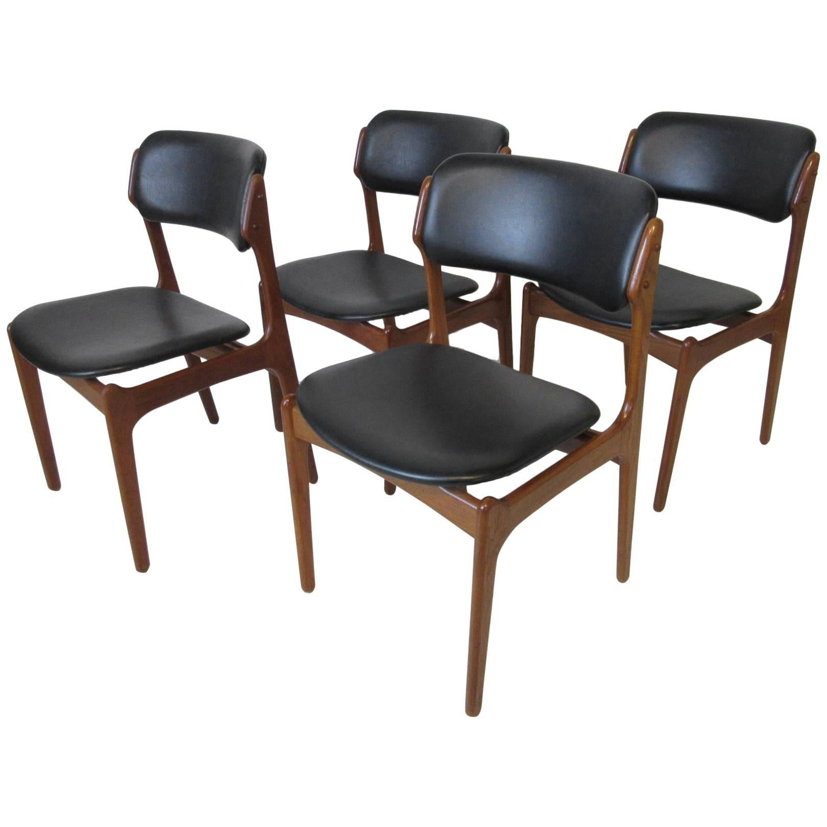 Eric Buck Danish Teak Wood Dining Chairs For Sale at 1stdibs