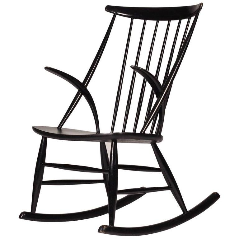 Scandinavian Modern Rocking Chair by Illum Wikkelsø, 1960s For Sale