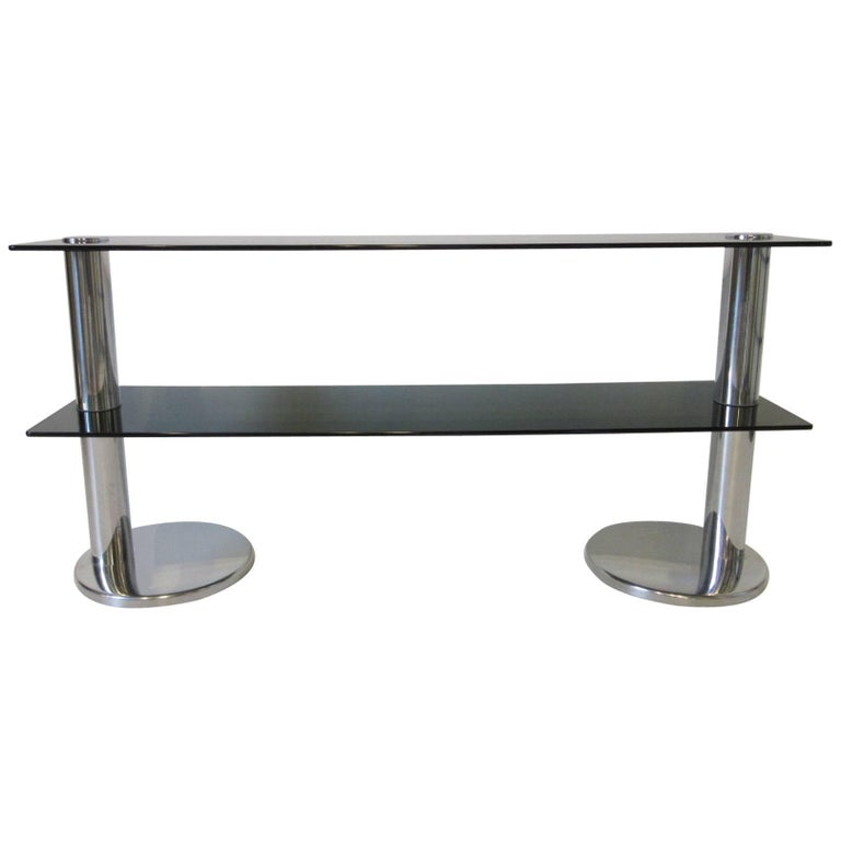 1970s Italian Chrome and Glass Console Table or Entertainment Centre Stand