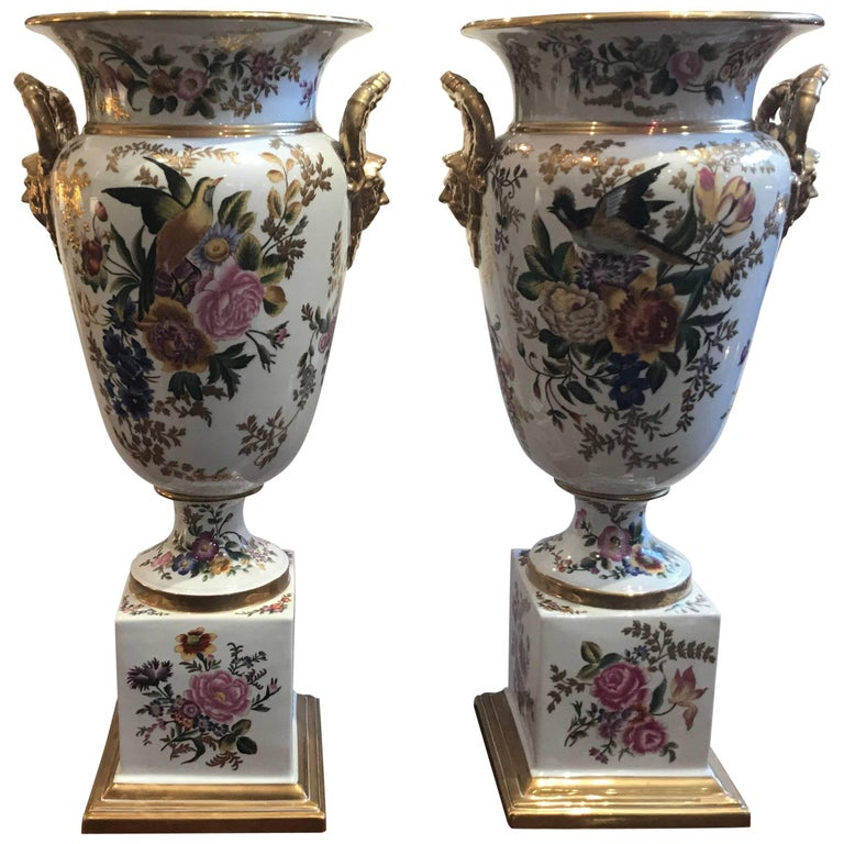 Large Pair of Hand-Painted Paris Style Porcelain Urns For Sale