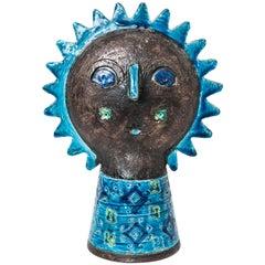 Aldo Londi and Bitossi Double-Sided Sun Head Sculpture