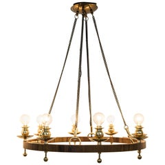 Midcentury Brass and Teak Swedish Chandelier