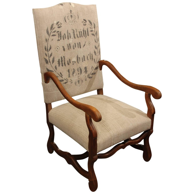 19th Century French Carved Wood Armchair in Homespun For Sale