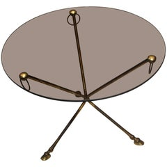Midcentury French Glass and Brass Tripod Table with Deer-Hoof