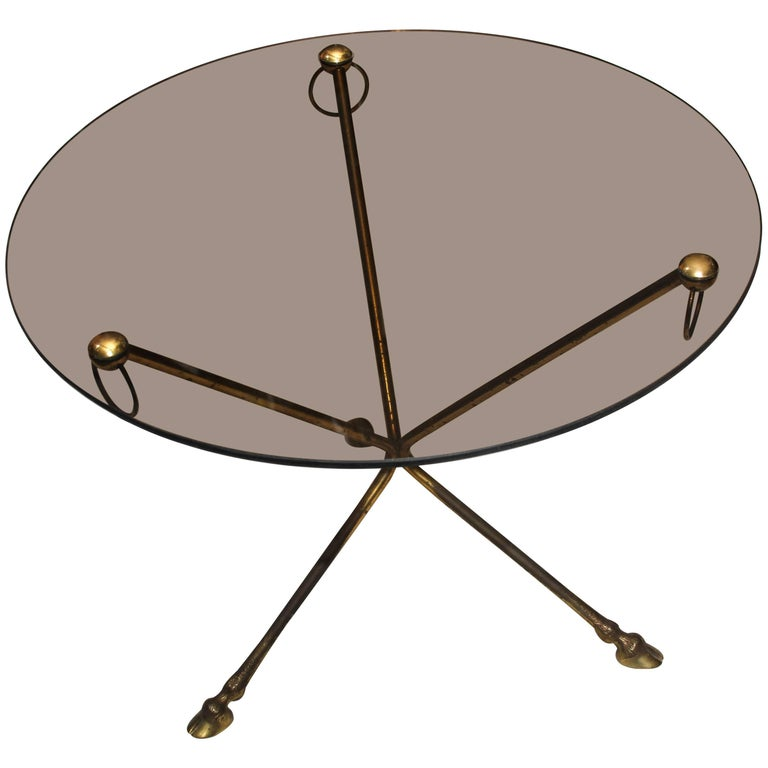 Midcentury French Glass and Brass Tripod Table with Deer-Hoof  For Sale