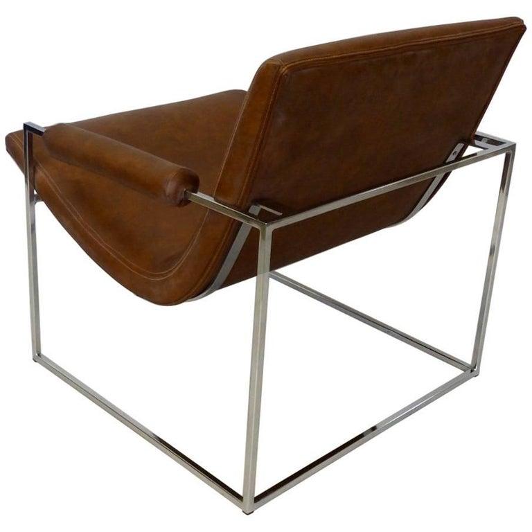 Milo Baughman Thayer Coggin Chrome Frame Lounge Chair For Sale