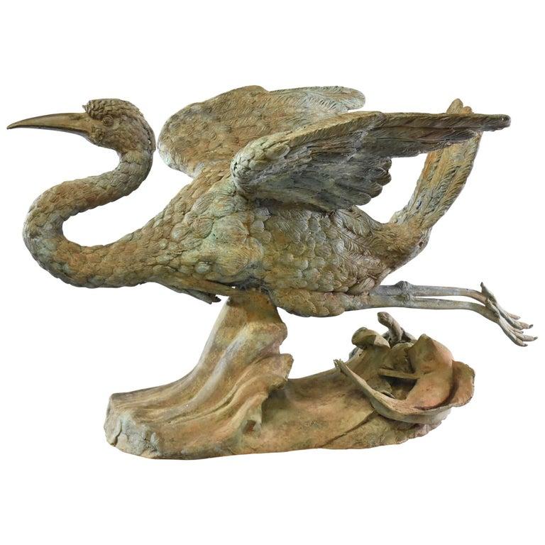 outdoor bronze lawn sculpture of crane in flight for sale. Black Bedroom Furniture Sets. Home Design Ideas