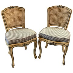 Pair of French Provincial Hand-Painted Chairs