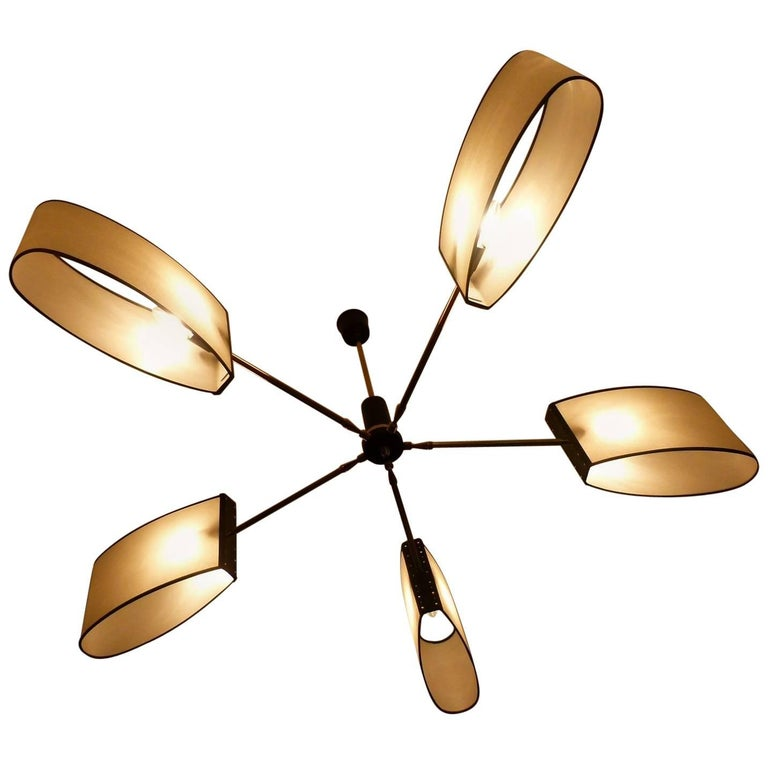 1950s Circular Chandelier with Five Lighted Arms by Maison Lunel For Sale