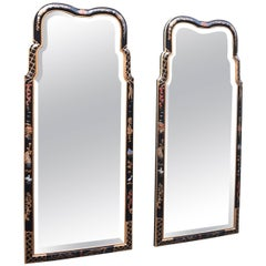 Pair of Hand-Painted Chinoiserie Beveled Glass Mirrors by Henredon