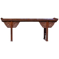 Chinese Antique Altar Table with Carved Dragons