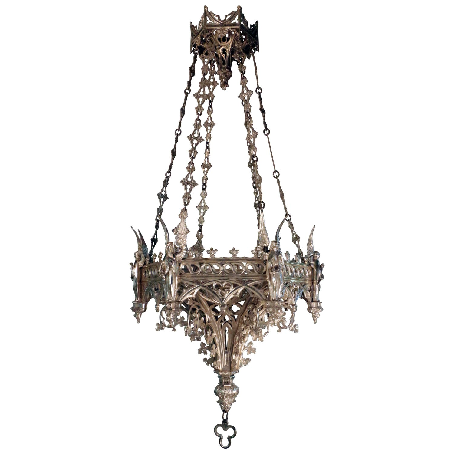 Gothic revival lighting light fixtures 88 for sale at 1stdibs antique french neo gothic silvered bronze hanging fixture arubaitofo Gallery